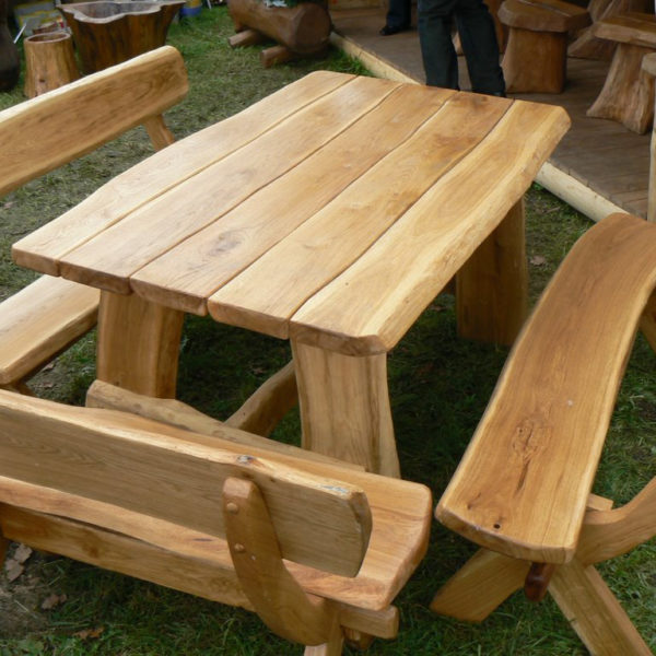 Oak table set with benches for garden outdoor and patio