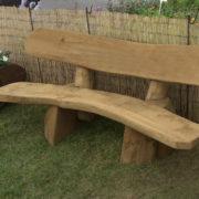 2m solid oak bench