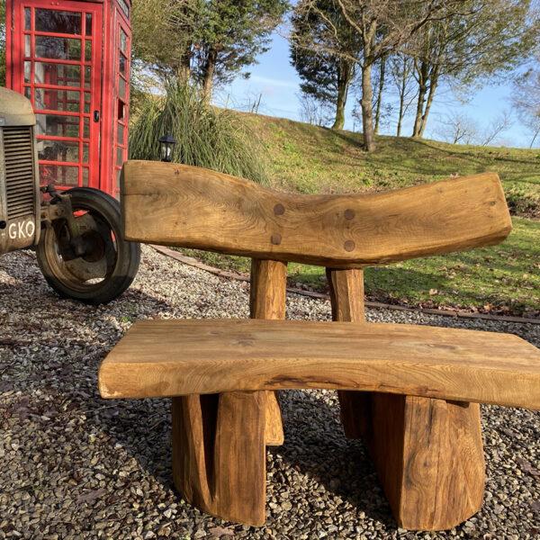 Solid oak garden bench banana shape 1m