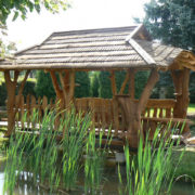 Rustic company bridge with roof
