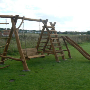 Rustic company wooden swing set