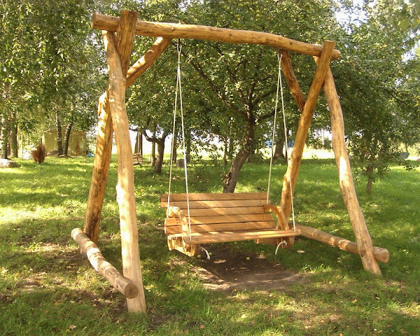 Rustic company wooden swing front