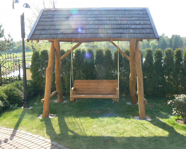 Rustic company wooden swing front alt