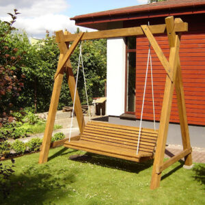 Rustic company wooden swing side view right