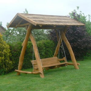 Rustic company wooden swing side view