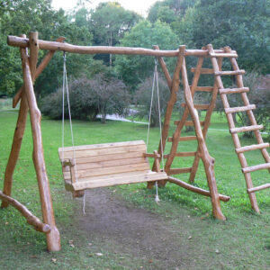 Rustic company wooden swing with ladder