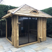 summerhouse with sliding glass door
