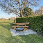 2m straight solid oak bench