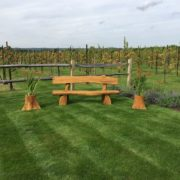 Rustic company wooden bench front
