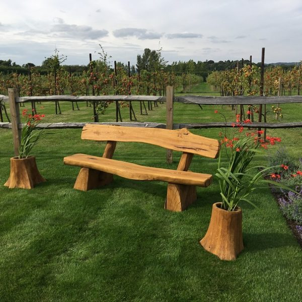Rustic company wooden bench front alt view