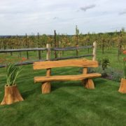 Rustic company wooden bench front alt