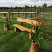 Rustic company wooden bench close up