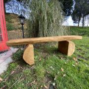 2 meters rustic oak garden bench